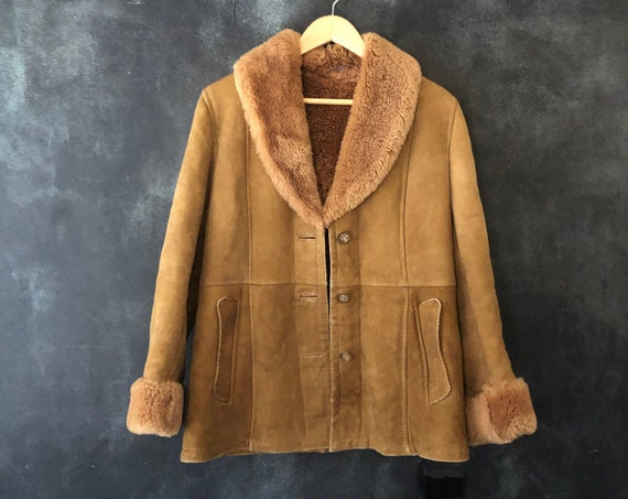 1970's Shearling Sheepskin Beige Brown Suede Fur Winter Coat Hippy Hippie Boho Bohemian Woodstock Ladies S/M