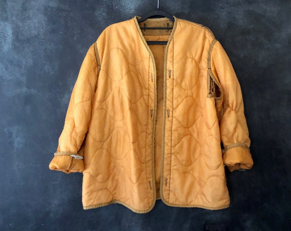 1970's Liner Puffer Quilted Army Military Jacket Nude Peach Beige Americana Heritage Oversized Long  Fall Boho Hippy Insulated All Sizes