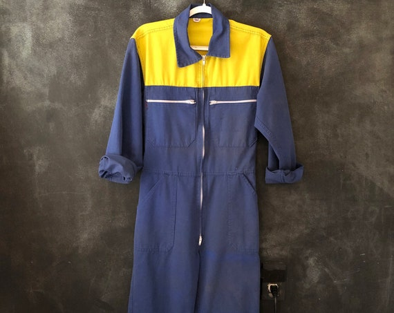 """80s German Blue and Yellow Coveralls Romper Onesie Boiler Suit High Waisted Onesie Cotton Blend Boho Size 30-32"""""""