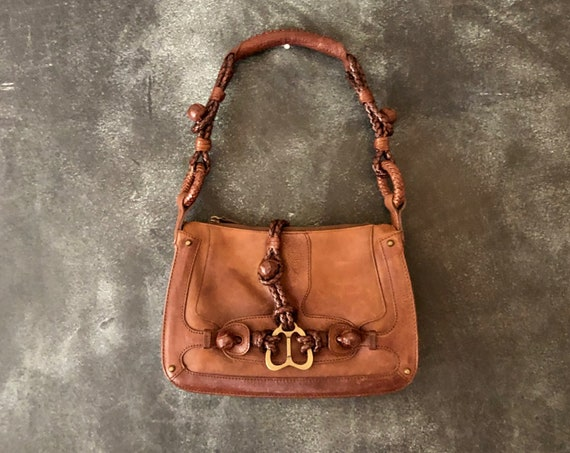 Y2k Alexander McQueen Brown Braided Leather Hobo Purse Medium Shoulder Bag Designer Made in Italy High Fashion