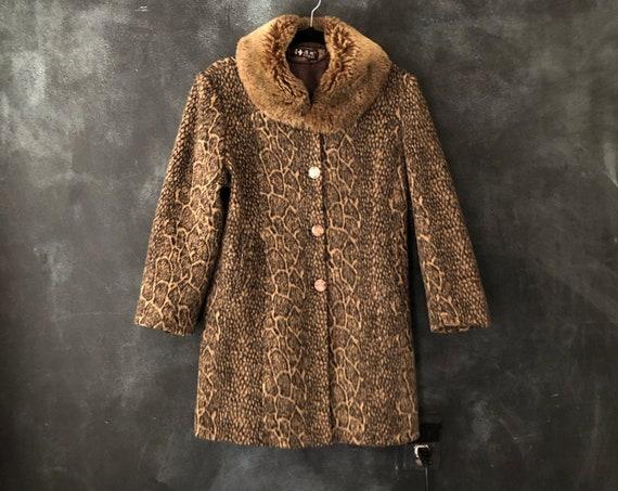 1980's Faux Leopard Animal Print Faux Fur Jacket Coat Sleeves Boho Bohemian Rocker Hippy Hippie Raver XS/S