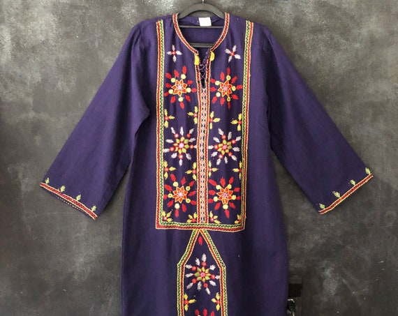 1970's Navy Cotton Embroidered Mirrored Kaftan Maxi Dress Long Sleeves Hippy Hippie Boho Bohemian Woodstock Ladies S/M/L