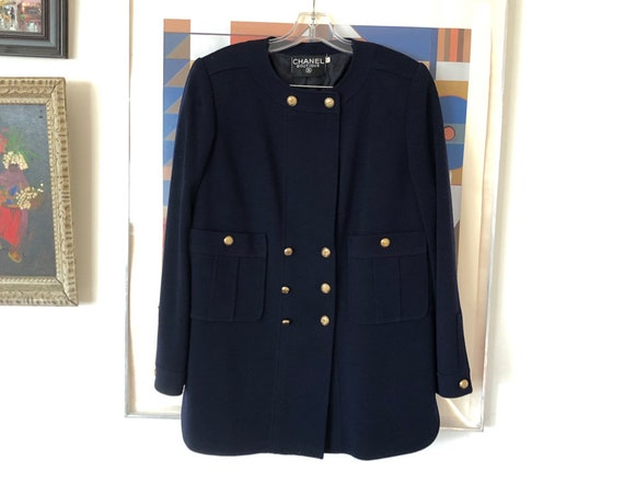 1990's 80's Chanel Navy Wool Knit Double Breasted Blazer Skirt Suit Gold Buttons Designer High Fashion Size 42