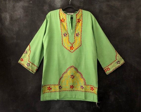 1970's Bright Lime Green Cotton Embroidered Mini Dress Tunic Long Sleeves Hippy Hippie Boho Bohemian Woodstock Ladies S/M/L