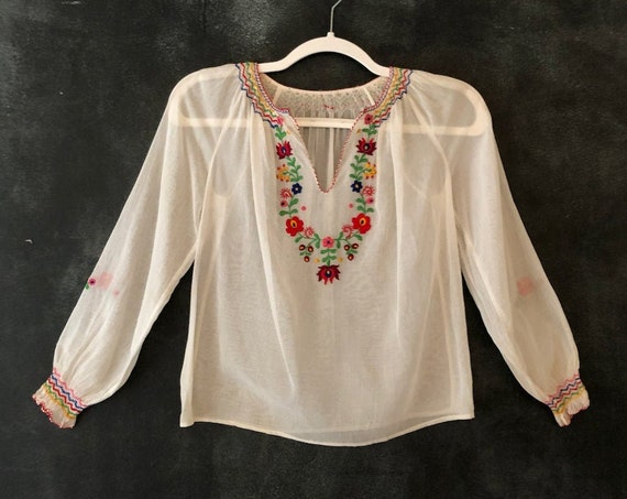 70's Hungarian Peasant Blouse Cotton Gauze Rainbow Floral Hand Embroidered Smocked Sheer Boho Bohemian Hippy Hippie Woodstock Blouse XS/S/M