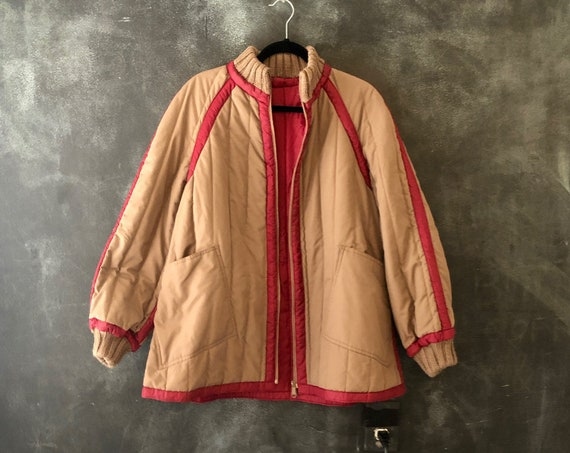 70's 80's Reversible Beige and Maroon Puffer Quilted Jacket Modern Modernist Minimal Minimalist Boho Hippy Bohemian Hippie All Sizes