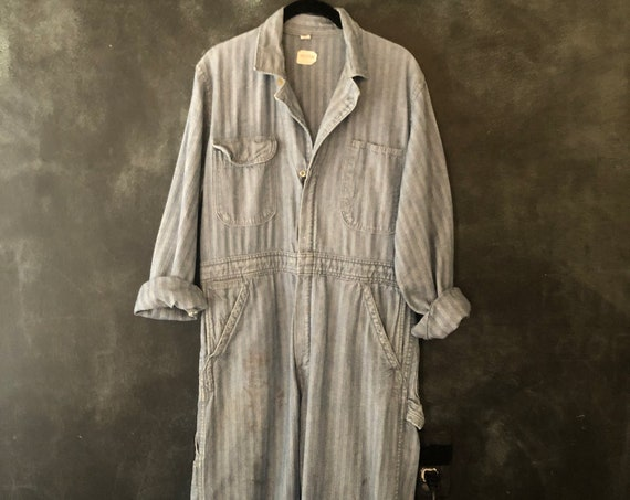 1960s Herringbone Buckhide Coveralls Overalls Jumper Onesie Mechanic Boiler Suit Jumpsuit Indigo Cotton Workwear Worn In Size 33/34