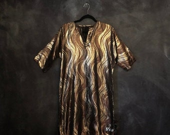 d975e750b09 20% Off Sale 1970's 1980's Gold Lame Mini Tunic Dress Waves Disco Holiday  Cocktail A Line Shiny Waves Hipster MOD Ladies XS.S.M