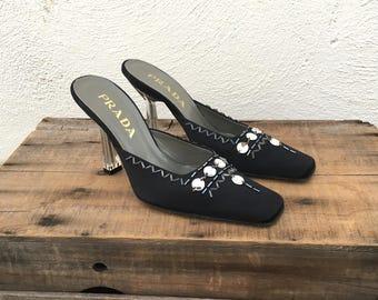 9d5c0ffccdd Prada Mules Black Satin Jeweled Lucite Clear Heel Designer Square Toe Heels  Ladies Size 6.5