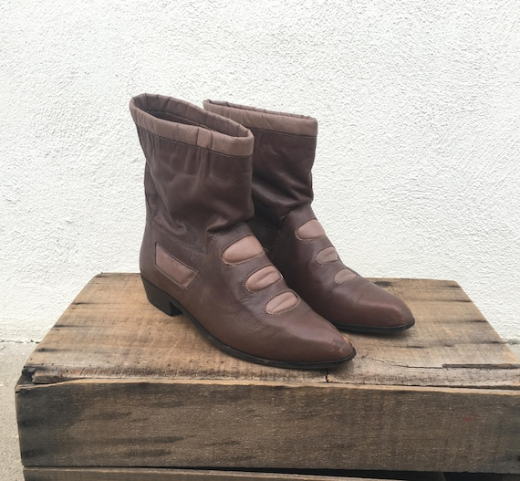 80s Ankle Booties Boots Brown Mauve Leather Slouch