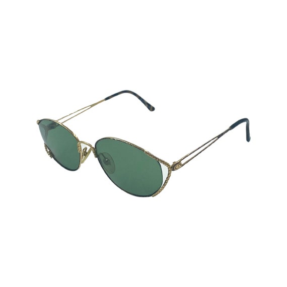80's 90's Small CHRISTIAN DIOR Sunglasses Style 2883 Eyewear Gold Metal Frames Green Lens Designer High Fashion Boho Hippie Made in Austria