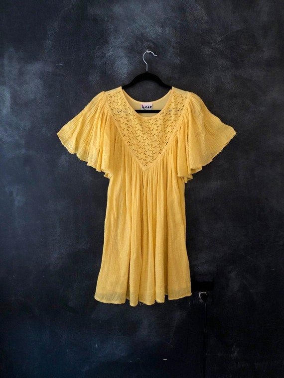 70's 80's Bright Yellow Cotton Gauze Mini Greek Dr