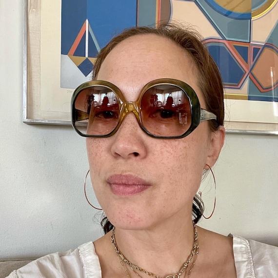 1970's Christian Dior Optyl Plastic Sunglasses Eyewear Made in Germany Green Frames Brown Gradient Lenses Designer High Fashion