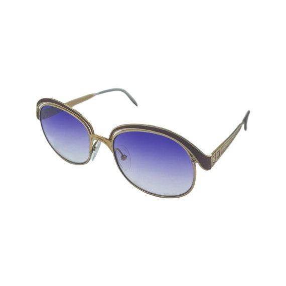 Rare 70's Cat Eye CHRISTIAN DIOR Sunglasses Eyewear Gold Metal Frames Purple Gradient Lenses Designer High Fashion Boho Made in Germany