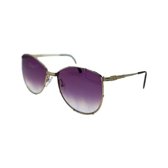 80's/90's CHRISTIAN DIOR Sunglasses Eyewear Gold Metal Frames With Purple Gradient Tint Designer High Fashion Boho Hippie Made in Austria