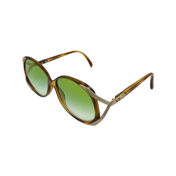 90's CHRISTIAN DIOR Sunglasses Eyewear Metal & Optyl Frames Green Lenses Designer High Fashion Boho Hippie Made in Austria Style 2428