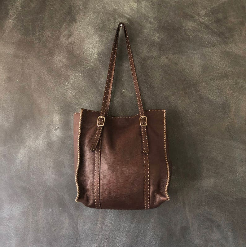 aa2d6a05e6 Fendi Selleria Chocolate Brown Shoulder Tote Medium Bag | Etsy