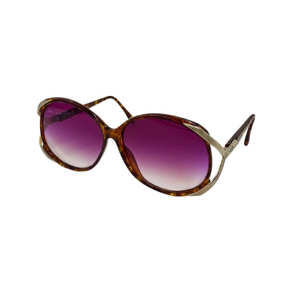 80's/90's CHRISTIAN DIOR Sunglasses Eyewear Gold Metal Tortoise Frames Purple Lens Designer High Fashion Boho Hippie Made in Germany