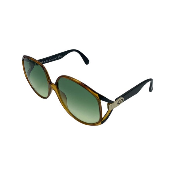 Rare 80s Christian Dior Optyl Plastic Sunglasses Eyewear Style 2320 Made in Germany Brown Frames Green Gradient Lenses Designer High Fashion