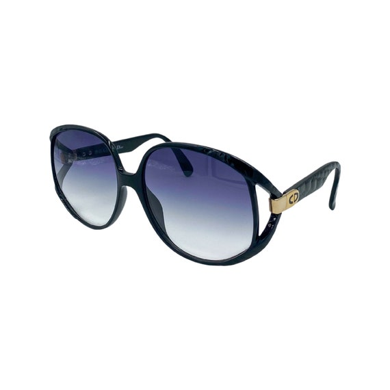 Rare 1980's Christian Dior Optyl Plastic Sunglasses Eyewear Made in Germany Black Frames Purple Gradient Lenses Designer High Fashion