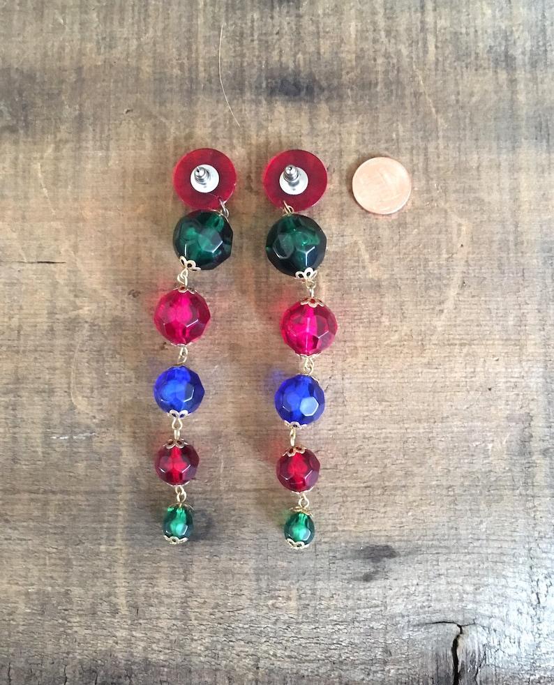 80s 90s Statement Pierced Earrings Chandeliers Jeweled Beads Extra Long Dramatic Earrings