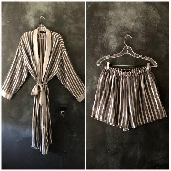 90's Rayon Stripe Boxer and Robe Sleep Set Silky Grey and Silver Duster Shorts Loungewear Boudoir Modern Minimal Unisex S/M/L