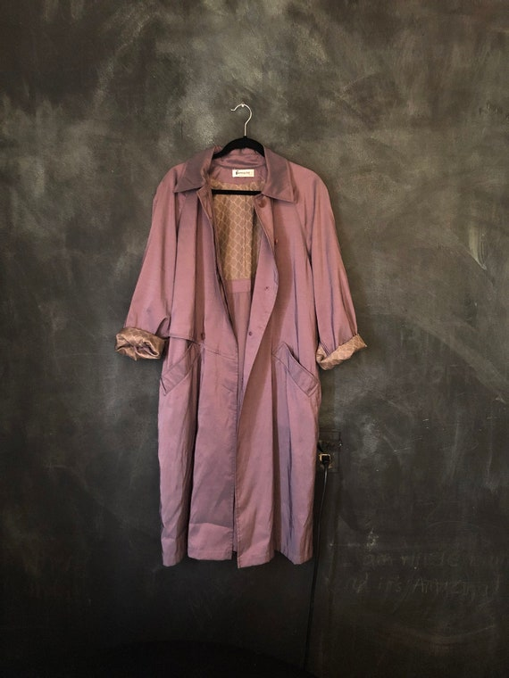 1980's 1990's Iridescent Punk Purple Trench Coat Jacket Modernist Minimalist Minimal Modern Long Duster Overcoat Osfm by Etsy