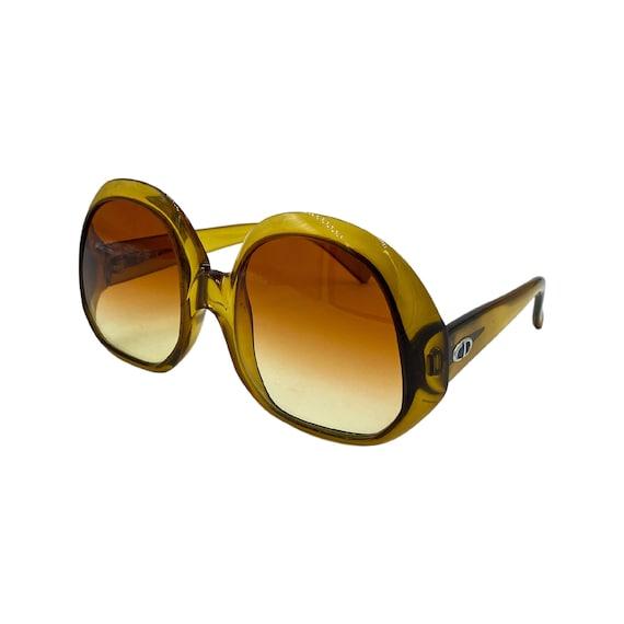 70's Jackie-O Style Christian Dior Optyl Plastic Sunglasses Eyewear Made in Germany Gold Frames Orange Gradient Lenses Designer High Fashion
