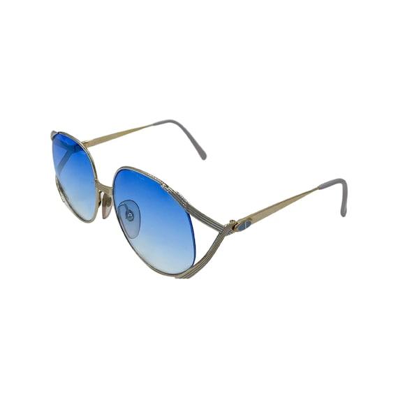 70's  80's Butterfly CHRISTIAN DIOR Sunglasses Eyewear Metal Frames Blue Lenses Designer High Fashion Boho Hippie Made in Germany