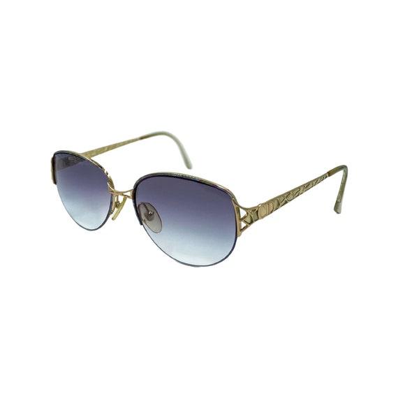 80's 90's CHRISTIAN DIOR Sunglasses Eyewear Gold Metal Frames Black Gradient Lenses Designer High Fashion Boho Hippie Made in Austria