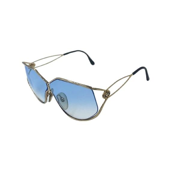 Rare 90s CHRISTIAN DIOR Sunglasses Style 2345 Eyewear Gold Metal Frames Blue Tinted Lenses Designer High Fashion Boho Hippie Made in Austria
