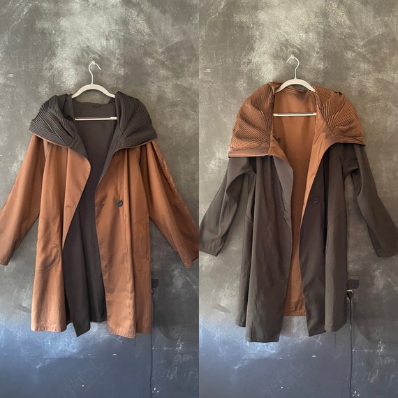 80's 90's Black Brown Bronze Avant Garde Trench Swing Coat Giant Pleated Hood Shawl Irredecent Taffeta Duster Modernist Minimal All Sizes