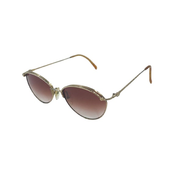 80's 90's Small CHRISTIAN DIOR Sunglasses Eyewear Gold Metal Frames Red Lens Designer High Fashion Boho Hippie Made in Austria