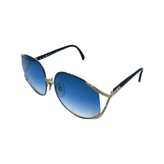70s Butterfly CHRISTIAN DIOR Sunglasses Style 2250 Eyewear Silver Metal Frames Blue Lens Designer High Fashion Boho Hippie Made in Austria