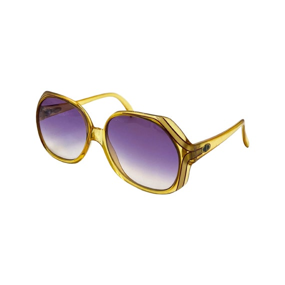 70's Psychedelic Christian Dior Optyl Plastic Sunglasses Eyewear Made in Germany Yellow Frames Purple Gradient Lenses Designer High Fashion