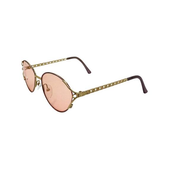 90's CHRISTIAN DIOR Sunglasses Eyewear Gold Metal Frames Amber Lens With Logo Sides Designer High Fashion Boho Hippie Made in Austria