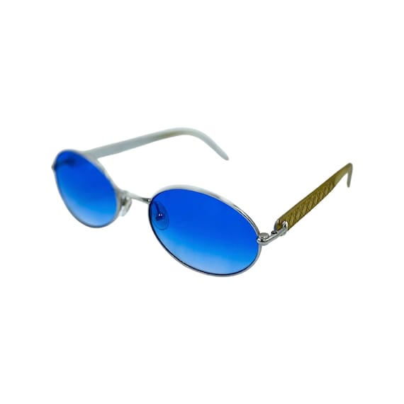 90's Small CHRISTIAN DIOR Sunglasses Eyewear Silver Metal Frames Blue Lens Designer High Fashion Boho Hippie Made in Austria