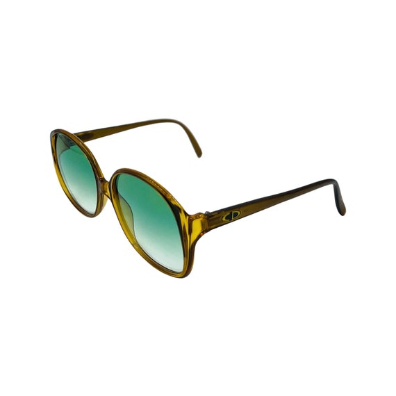 1980's Christian Dior Optyl Plastic Sunglasses Eyewear Style 2107 Made in Germany Brown Frames Green Gradient Lenses Designer High Fashion