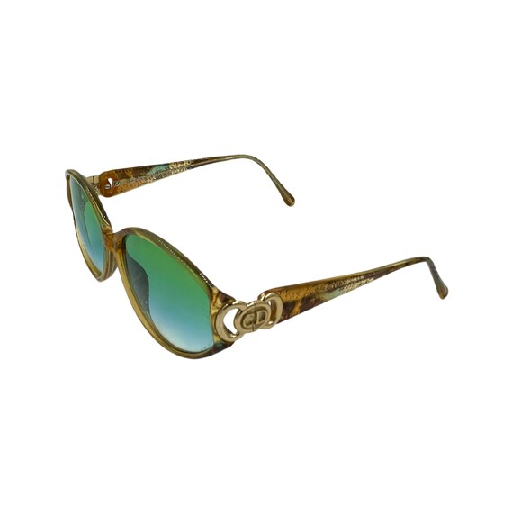 Rare 90s Cat Eye Christian Dior Optyl Sunglasses Style 2850 Eyewear Made in Austria Green Frames Green Gradient Lenses Designer High Fashion
