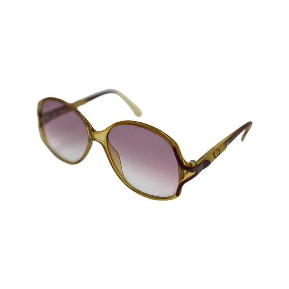 70's Christian Dior Optyl Plastic Sunglasses Eyewear Made in Germany Brown Frames Purple Gradient Lenses Designer High Fashion Style 2261