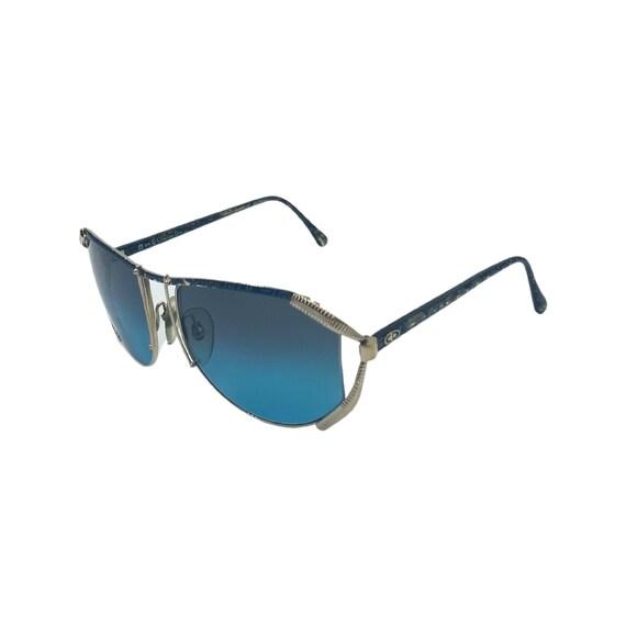 Rare 80s 90s CHRISTIAN DIOR Sunglasses Style 2609 Eyewear Silver Metal Frames Blue Lens Designer High Fashion Boho Hippie Made in Germany