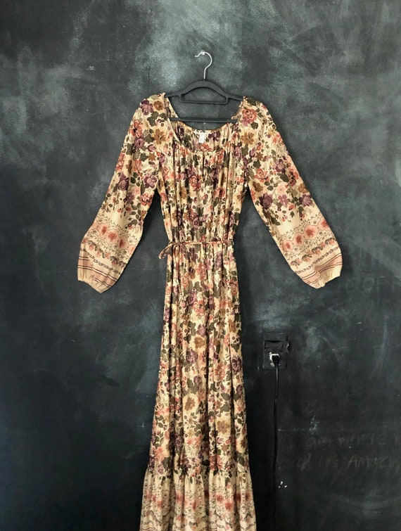 1970's Nylon Floral Print Maxi Long Peasant Dress