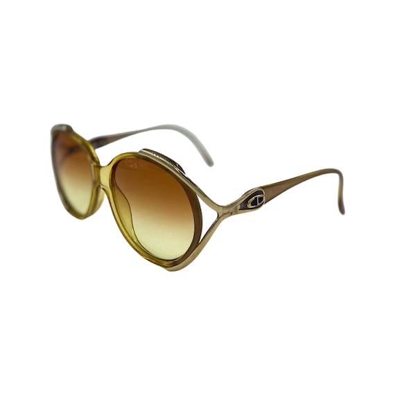 1980's Christian Dior Optyl Plastic Sunglasses Eyewear Style 2189 Made in Austria Gold Frames Amber Gradient Lenses Designer High Fashion