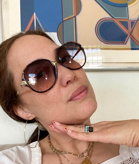80's Oversized CHRISTIAN DIOR Sunglasses Eyewear Tortoise Metal Frames Black Gradient Lenses Designer High Fashion  Made in Germany