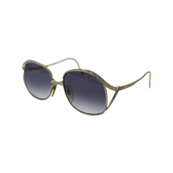 Rare 70's CHRISTIAN DIOR Sunglasses Eyewear Gold Metal Frames Black Gradient Lenses Designer High Fashion Boho Hippie Made in Germany