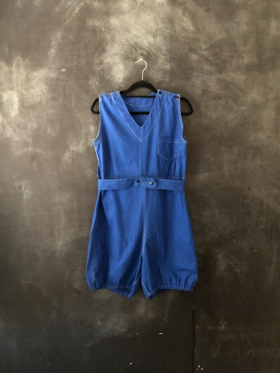 1940's Cobalt Blue Cotton Play Suit Gym Onesie Out
