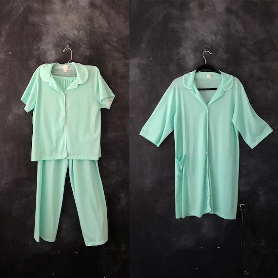 1960's Mint Green Nylon 3 pieces Pajama Set Shear
