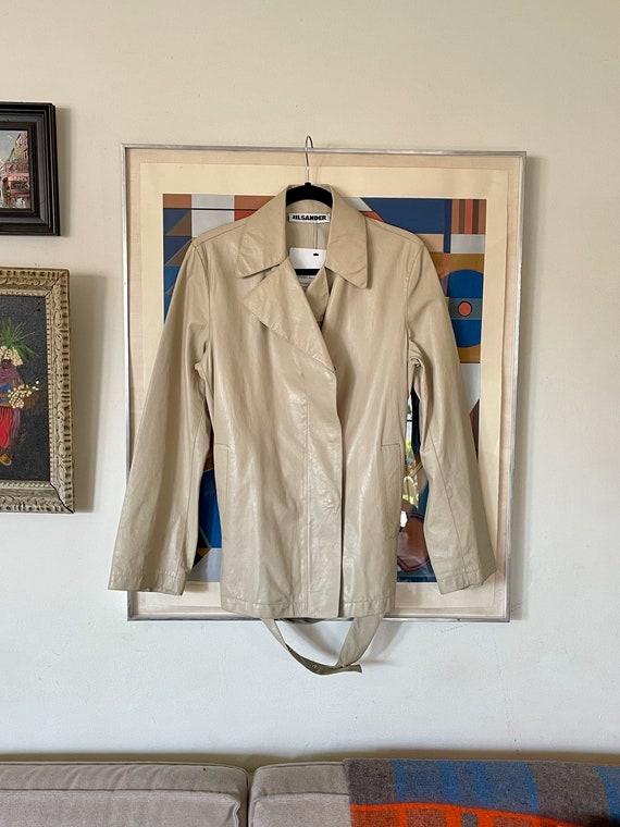 Y2k Jill Sander Beige Bone Off White Leather Belted Jacket Modern Modernist Minimal Minimalist Designer High Fashion Italian Size 34 S/M