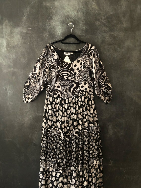 1990's Rayon Crepe Black and White Babydoll Patchw