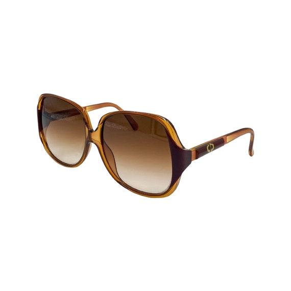Rare Oversized 80's Christian Dior Optyl Plastic Sunglasses Eyewear Made in Germany Brown Frames Brown Gradient Lenses Designer High Fashion